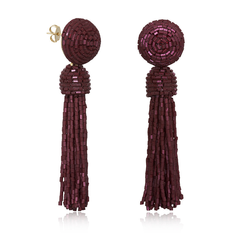 Tess Burgundy Tassel Earrings