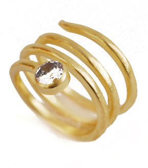 Spiral Ring with CZ