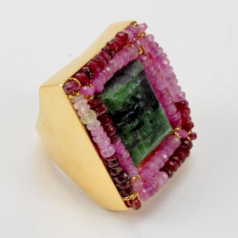Embroidered Square Stone Ring