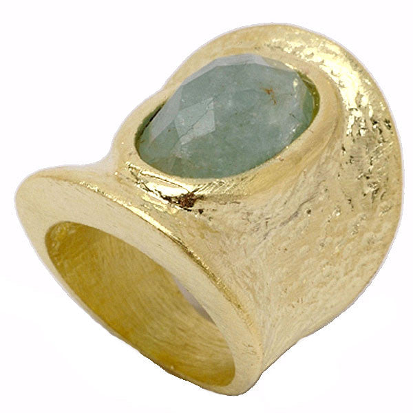 Gold Cuff with Oval Milky Aquamarine Ring