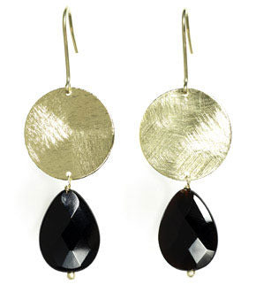 Medium Coin with Stone Drop Earrings