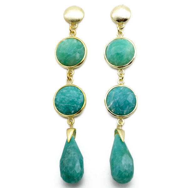 3 Stone Drop Earrings