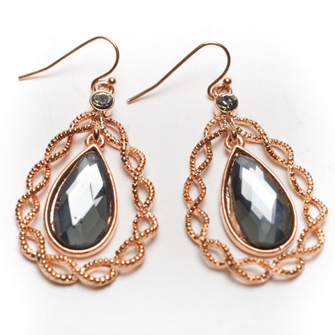 Black Diamond CZs Teardrop Earring
