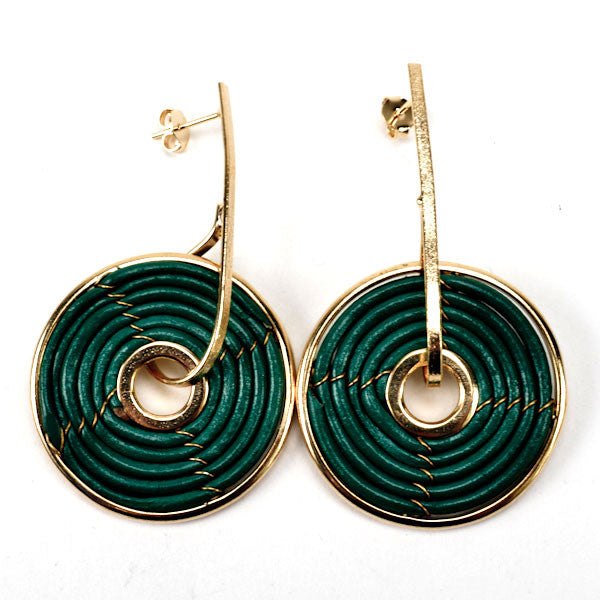 Green Leather and Gold Spiral Earring