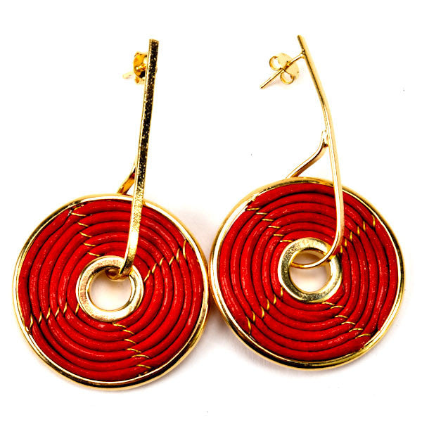Red Leather and Gold Spiral Earring