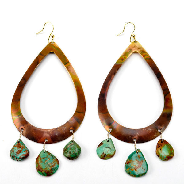Large Burnished Teardrop and Stone Earring