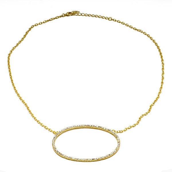 CZ Open Oval Necklace