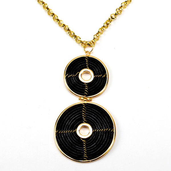 Long Double Spiral Black Leather Necklace