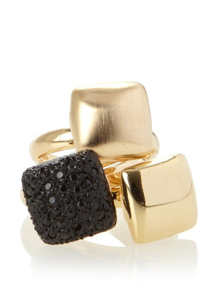 Donatella Noir Triple Squares Ring