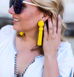Tess Yellow Tassel Earrings