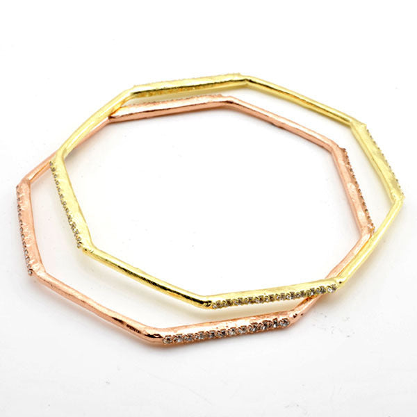 Octagonal Bangle with CZs