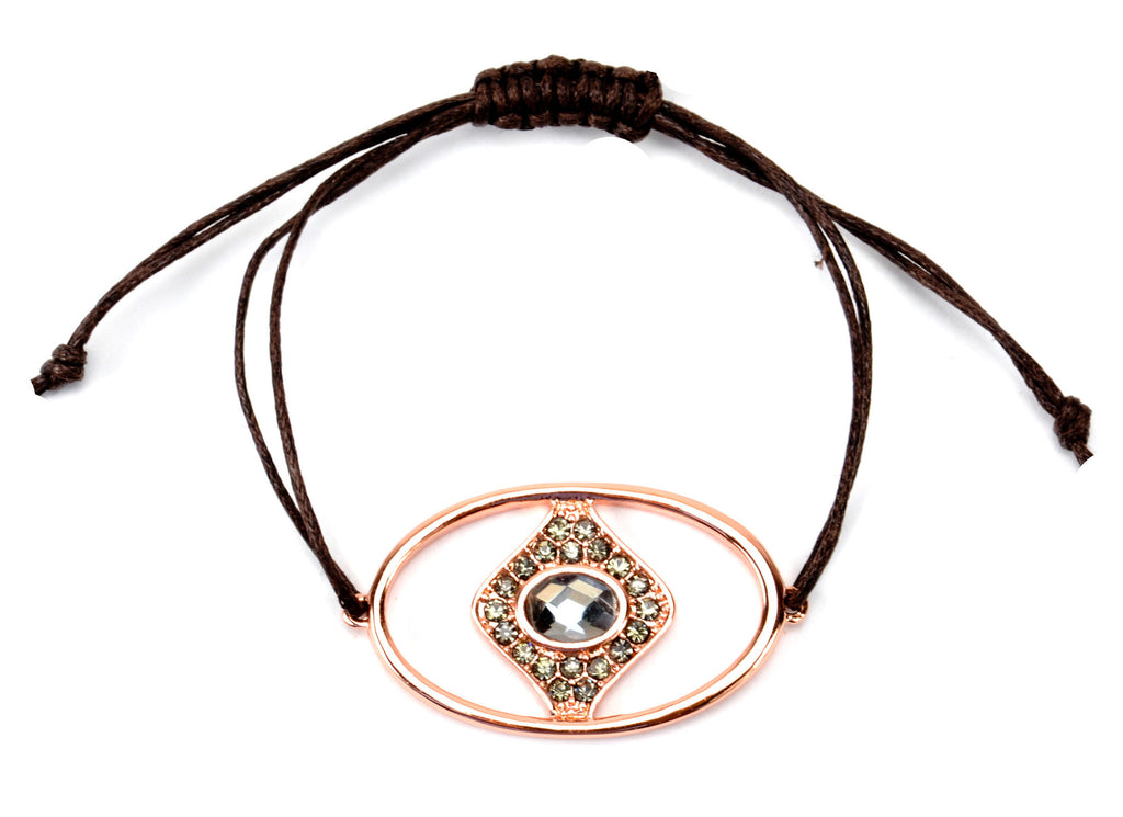 Rose Gold Evil Eye with Black Diamond CZs on Brown Cord