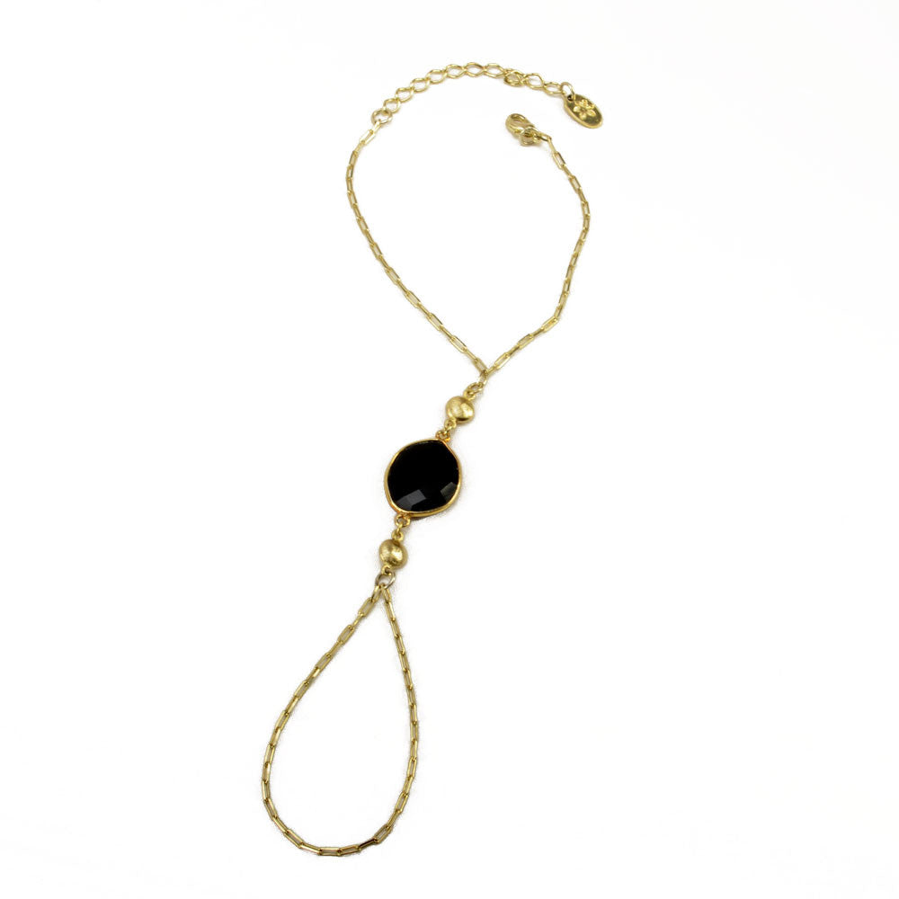 Black Onyx and Gold Beads Ring Bracelet