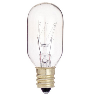 T8 Appliance Incandescent Bulb - E12 Candelabra Base - 25W - Satco