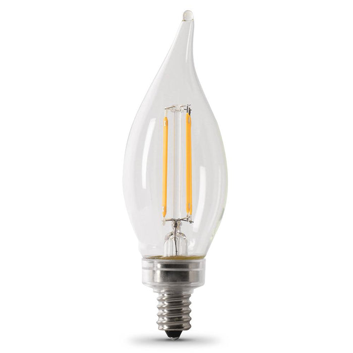 CA10 Flame Tip Dimmable Filament LED Bulb - E12 Candelabra Base - 5.5W - FEIT