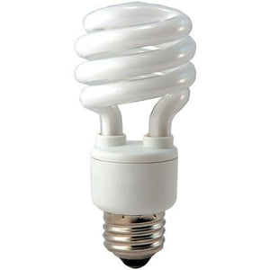 T2 Mini Spiral Twist Compact Fluorescent Bulb - E26 Medium Base - 13W, 19W, 23W, 27W - EIKO