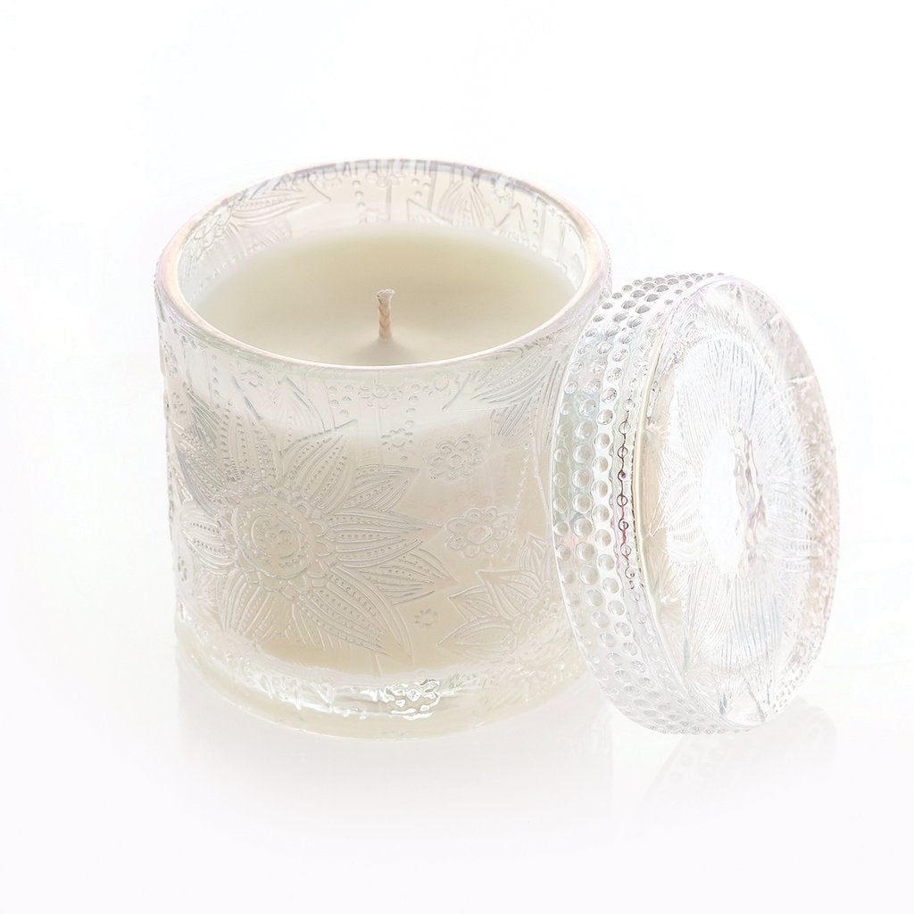 Decorative Candle Jar with Lid -Honeysuckle (Clear)