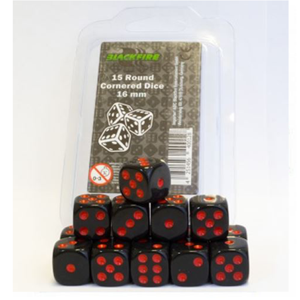 Blackfire Dice - 16mm D6 Dice Set in Box - Black with Red Dots (15 dice)