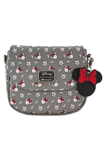 Disney Minnie Mouse Head & Flower Print-Crossbody Bag- Disney by Loungefly