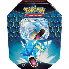 Pokemon-Hidden Fates Collectors Tin  - Gyarados-GX (Reprint New Packaging ) (2 Per Customer)