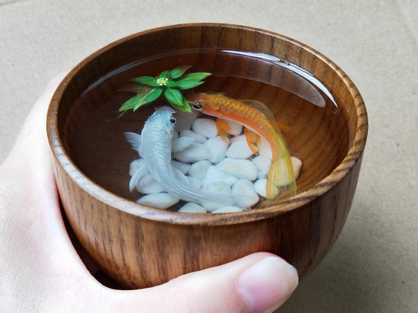 Lovely Couple in Wooden Bowl