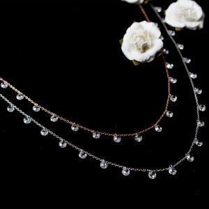 Silver Rose Gold Layered Queens Necklace-GIVA Jewellery