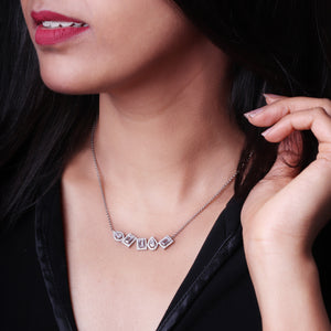 Silver Glam Baguette Necklace