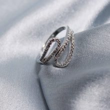 Load image into Gallery viewer, Silver Zircon Gliding Shimmer Ring-GIVA Jewellery