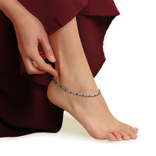 Load image into Gallery viewer, Silver Layered Black Bead Anklet