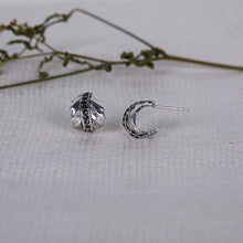 Load image into Gallery viewer, AVNI - Oxidised Silver Curled Leaf Earrings
