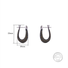 Load image into Gallery viewer, AVNI - Oxidised Silver Studded Hoop Earrings