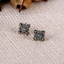 Load image into Gallery viewer, Oxidised Silver Symmetry Stud Earrings