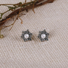 Load image into Gallery viewer, AVNI - Oxidised Silver Pearl Flower Earrings