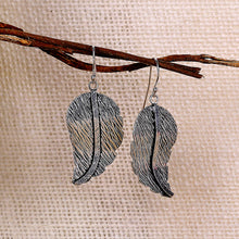 Load image into Gallery viewer, AVNI - Oxidised Silver Swaying Leaf Earrings