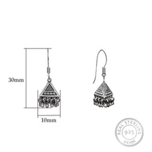 Load image into Gallery viewer, AVNI - Oxidised Silver Triangle Jhumki