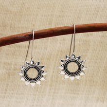 Load image into Gallery viewer, AVNI - Oxidised Silver Sun Flower Earrings