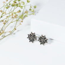Load image into Gallery viewer, AVNI - Oxidised Silver Crescent Stud Earrings
