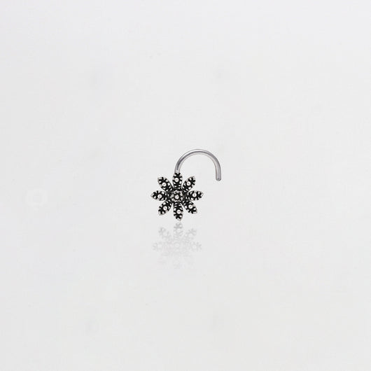 AVNI - Oxidised Silver Blooming Flower Nose Pin