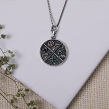 Load image into Gallery viewer, AVNI - Oxidised Silver Elements Pendant With Box Chain