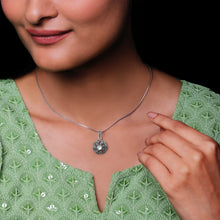 Load image into Gallery viewer, AVNI - Oxidised Silver Swaying Flower Pendant with Box Chain