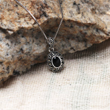 Load image into Gallery viewer, AVNI - Oxidised Silver Black Floral Pendant with Box Chain