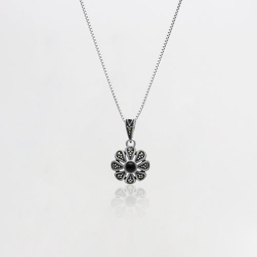 AVNI - Oxidised Silver Black Flower Pendant with Box Chain