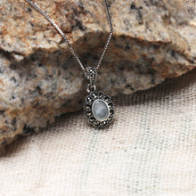 Load image into Gallery viewer, AVNI - Oxidised Silver Serenity Flower Pendant with Box Chain