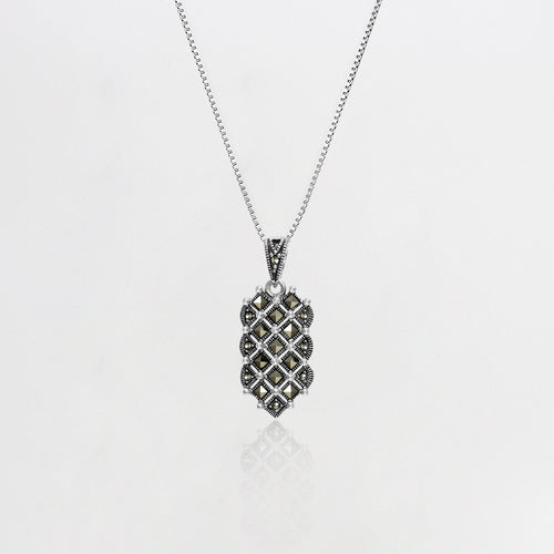 AVNI - Oxidised Silver Sacred Protection Pendant with Box Chain