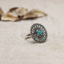 Load image into Gallery viewer, AVNI - Oxidised Silver Turquoise Chakra Ring