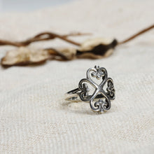 Load image into Gallery viewer, AVNI - Oxidised Four Clover Ring