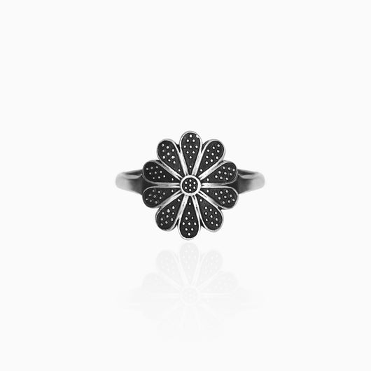 AVNI - Oxidised Silver Flower Ring