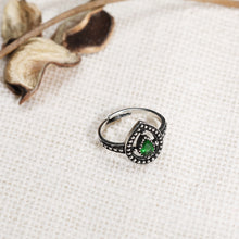 Load image into Gallery viewer, AVNI - Oxidised Forest Green Drop Ring