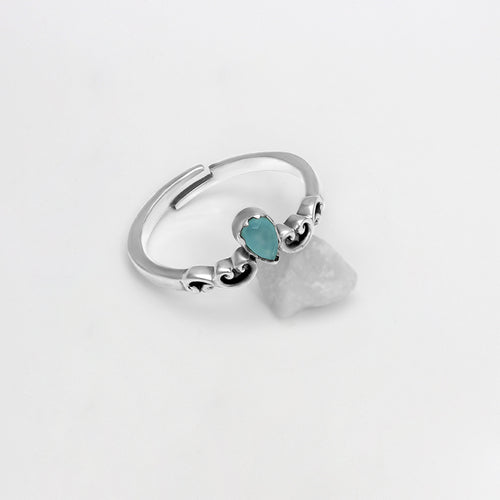 AVNI - Oxidised Silver Sea Green Ring