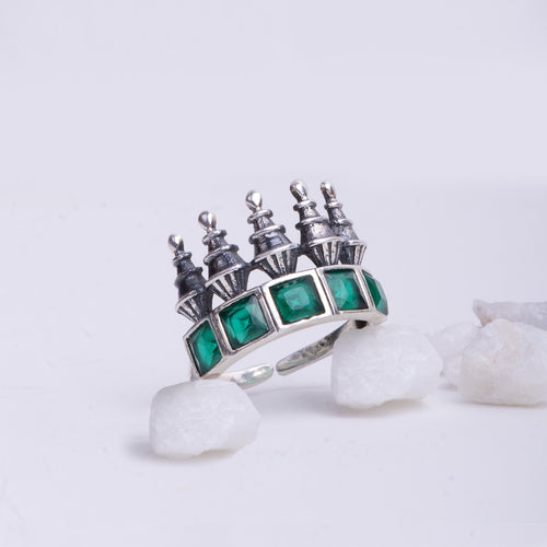AVNI - Oxidised Emerald Green Tower Ring